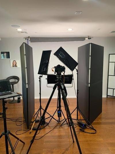 Inside the Headshots Studio with Lighting and Equipment